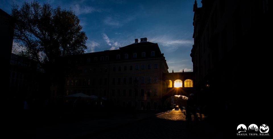 Schloß Dresden im Sonnenuntergang