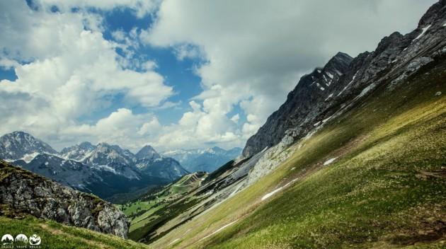 Blick zurück zu den Ehrwalder Almbahnen
