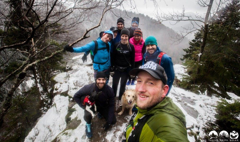 Gruppen-Felsen-Selfie