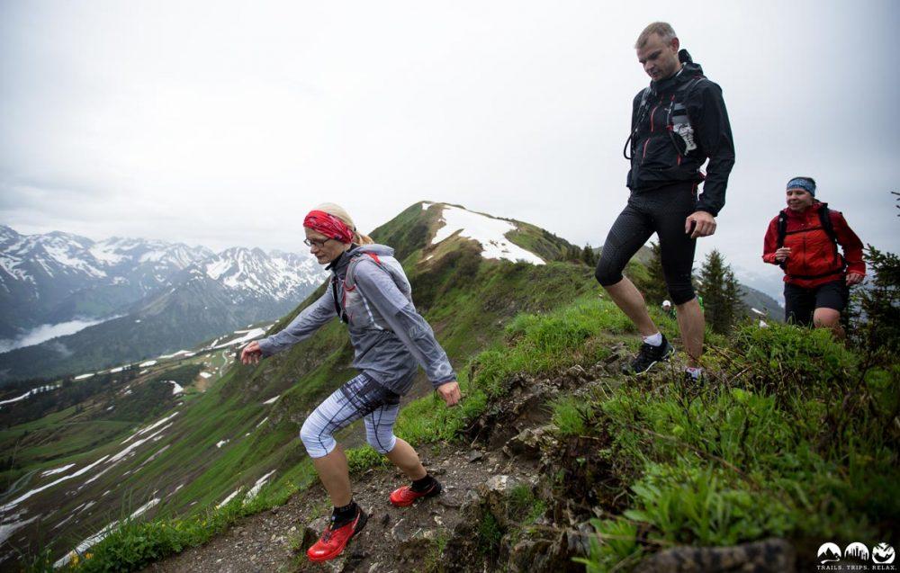 Tamara und Thomas auf dem Trail vom Fellhorn zum Schlappoltkopf