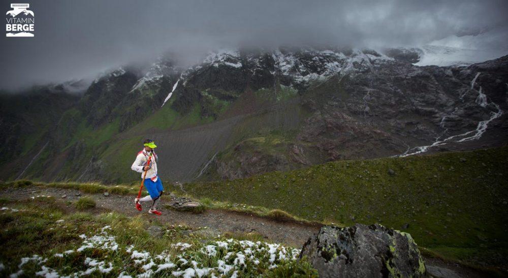 Der Downhill vom Taschachhaus morgen kurz vor 8Uhr mit einem Läufer des P100.