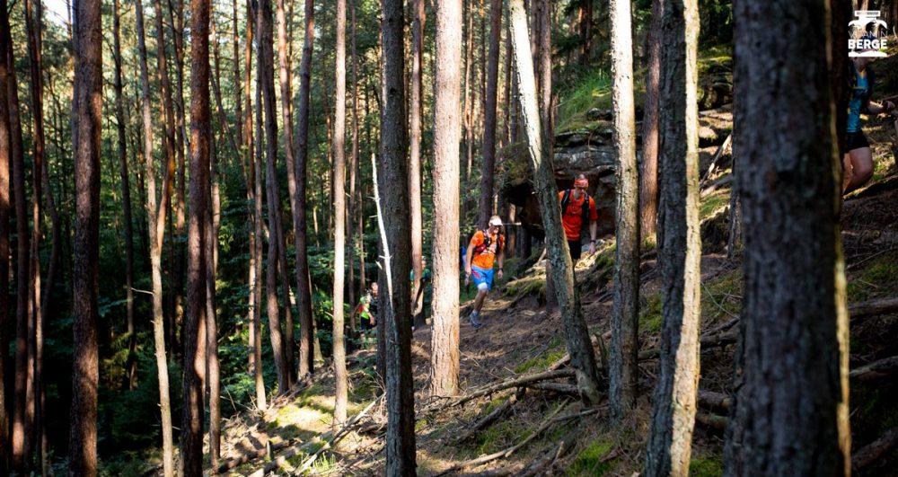 Vorbei an Felsen durch den Wald