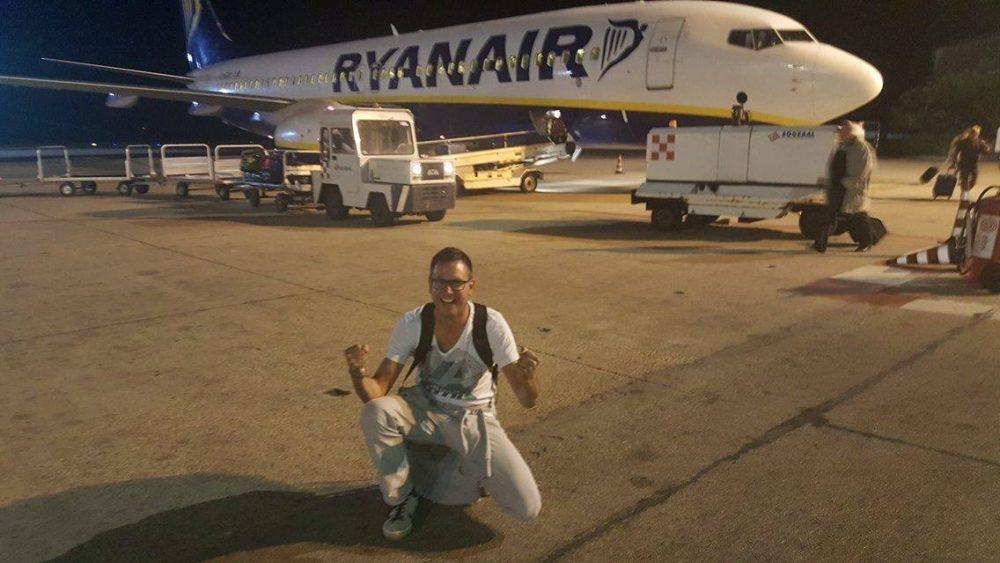 Mischa bei seinem ersten Flug nach sehr vielen Jahren.