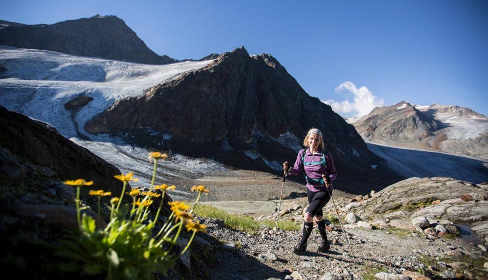 Blümchen im Hochgebirge. Mit Gletscher und Trailrunner bei Postkartenwetter.