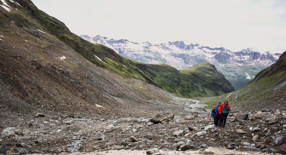 Aufstieg auf der Gletschermoräne
