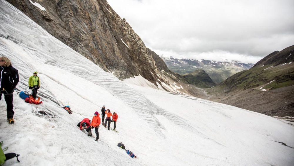 Übungen auf dem Gletscher
