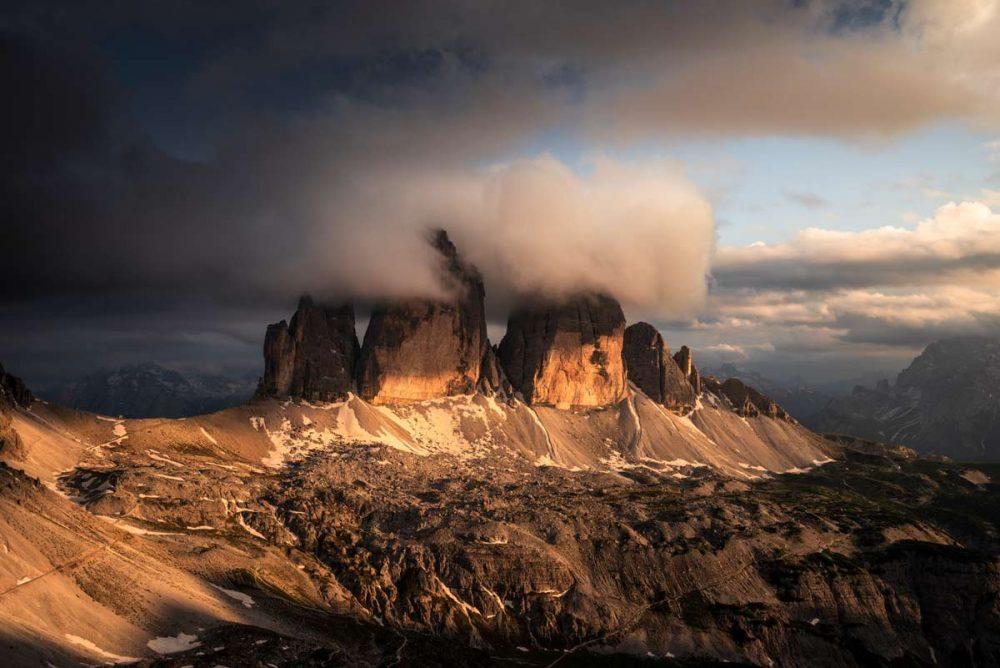 Morgenstimmung an den Drei Zinnen in Südtirol