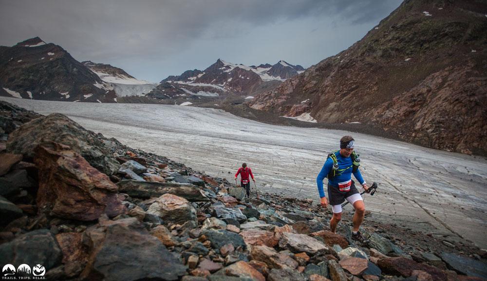 Uphill über dem Pitztaler Gletscher